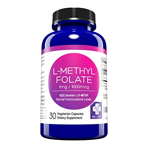 MD. Life L-Methylfolate 1mg – Active Folate 5-MTHF, Professional Strength Methyl Folate - Essential Amino Acids– Vegan Gluten-Free - 30 Capsules…