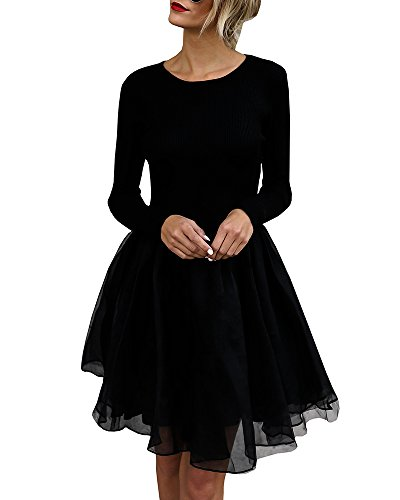 Gobought Dress for Women Sexy Long Sleeve Slim Tunic Dress Skater Dress T Shirt Dress Cocktail...