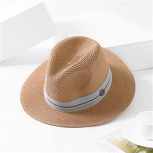 JSJJAET Chapeau de Soleil 2021 Nouveau été Chapeau pour Femmes Noir Ruban Paille Chapeau Mode Dame église Casquettes Plage Sunhat (Couleur : Khaki, Taille : 56 58cm)