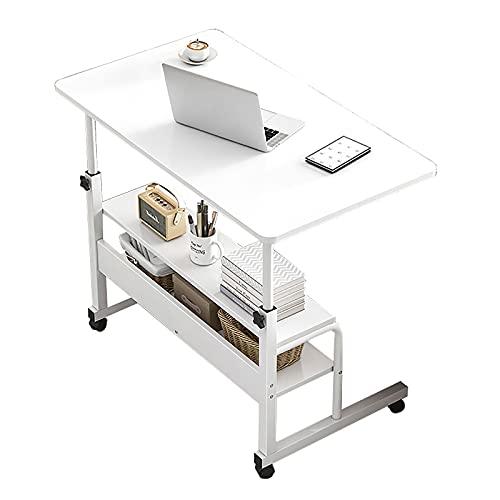VIY Escritorio de Ordenador portátil con Ruedas con Altura Ajustable, Mesa de Ordenador para salón, Oficina, Dormitorio, Hotel, Hospital