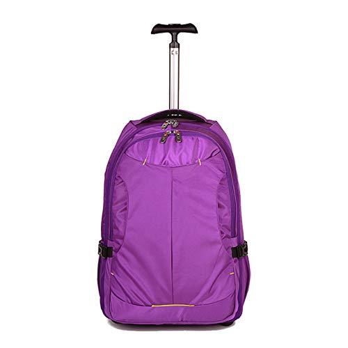 FREETT Trolley Mochila Niña, Mochila de Equipaje Unisex con Ruedas y Compartimento para Laptop, Carretilla Mochila Casual para Aeronave Colegio, 34 * 21 * 49 cm,Púrpura