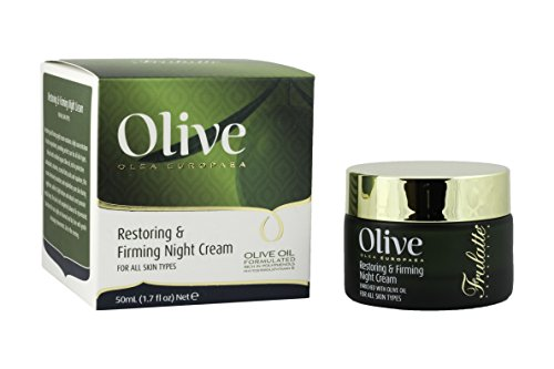 Olive Restoring & Firming Night Cream by Frulatte with Certified Organic Olive Oil rich in antioxidants. For all skin types 1.69 fl oz