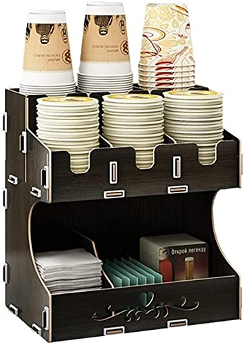 TEAYASON Organizador de tazas y tapas, de madera, para tazas y pajitas, organizador de bricolaje, caja de almacenamiento, varios compartimentos, tazas de papel para bebidas de café, color negro