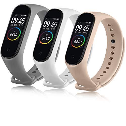 Oumida Correa Compatible con Xiaomi Mi Band 4 Xiaomi Mi Band 3, Pulseras Reloj Recambio Silicona Suave Original para Xiaomi Mi Smart Band 4 (Blanca/Gris/Rosa)
