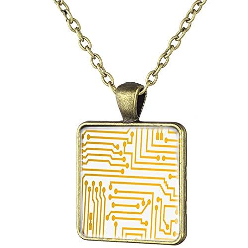 Halskette mit quadratischem Anhänger in Form eines Computer-Leiterplattens, bronzefarben, Vintage-Stil, Statement-Halskette für Damen