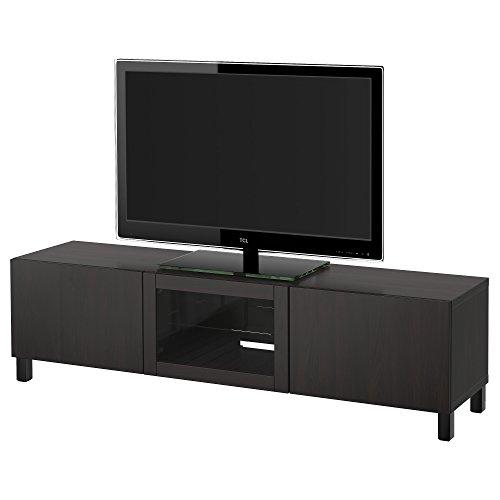 IKEA BESTA - TV Bank met laden en deur Lappviken zwart-bruin helder glas