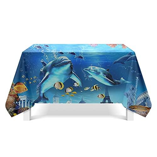 CYYyang Lino con Estilo Antimanchas Mantel Decorativo para Reuniones Familiares Arte del Mundo Submarino