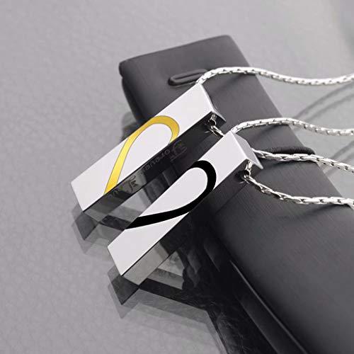 GVCTⓇ Paar herzförmige Halskette Valentinstag Licht Luxus Anhänger Schmuck senden Freund Freundin Paar Geburtstag Halskette Wolfram Gold Anhänger Artikel Anhänger 50cm Titan Stahl Fliese Kette