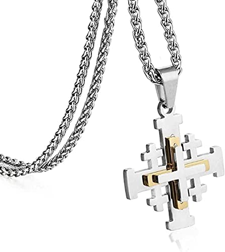 Yiffshunl Collar de Moda joyería Religiosa Medieval Regalo Jerusalén Cruz Colgante Collares para Mujeres Hombres Cadenas de declaración de Acero Inoxidable