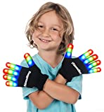 The Noodley LED Gloves Light Toys Kids and Adult Size Glow in The Dark Game Ideas Camping Ages 4 5 6 7 (Small, Black)