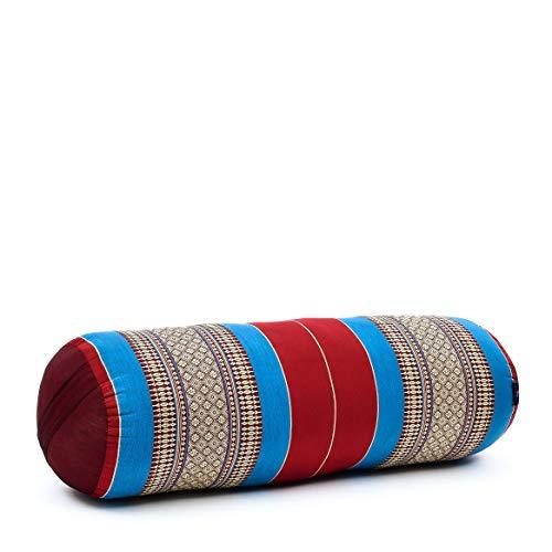 Leewadee Yoga Bolster Grande – Almohadilla tailandesa de kapok ecológico y Hecha a Mano, cojín Alargado para Pilates, 65 x 25 x 25 cm, Azul Rojo