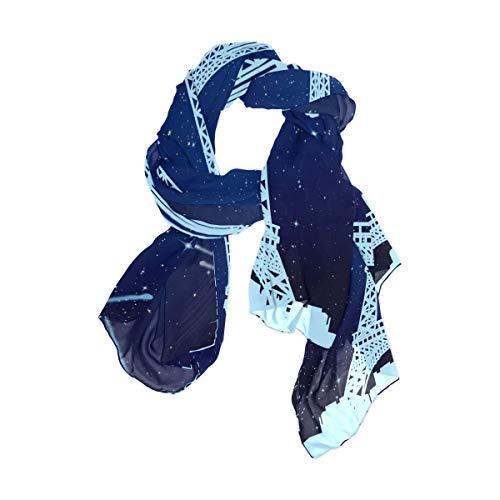Pañuelo cuadrado Estampado Ligero Cielo estrellado Galaxys Torre Eiffel Chal Bufanda Envolturas para mujeres Niñas Señoras Favor Flor 90x180 CM