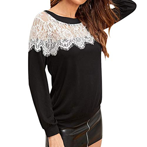 Great Price! Beihxwe Women T Shirt Blouse See Through Lace Patchwork Long Sleeve O Neck Tops Blouse ...