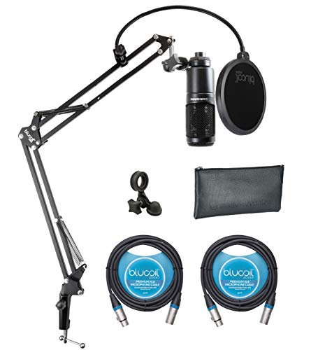 Audio-Technica AT2020 Cardioid Condenser Microphone Bundle with Blucoil Boom Arm Plus Pop Filter, and 2-Pack of 10-FT Balanced XLR Cables