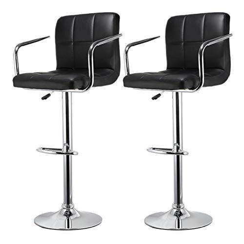 Kjghj, set di 2 sgabelli da cucina in pelle con barra girevole regolabile in altezza per casa, ufficio, per il tempo libero, sedie da bar (colore: 01)