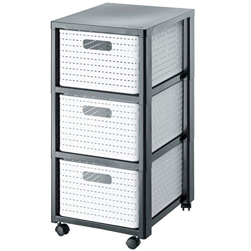 Rotho Country Rollcontainer mit 3 Schubladen in Rattan-Optik, Kunststoff (PP) BPA-frei, weiss, 3 x A4/18l (37,5 x 32,5 x 71,2 cm)