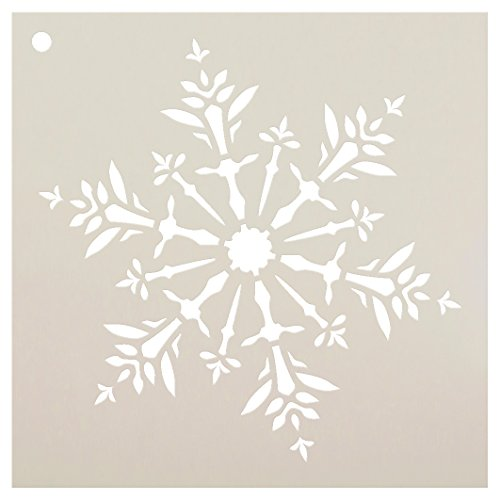 Snowflake Stencil by StudioR12 | Delicate Winter Art - Reusable Mylar Template | Painting, Chalk, Mixed Media | Use for Wall Art, DIY Home Decor | Select Size (6' x 6')