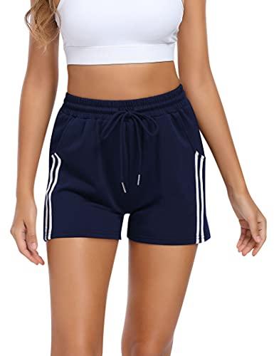 KOJOOIN Kurze Hose Damen Shorts Sommer Kurze Sporthose Baumwolle Jogginghose Loose Fit Sweathose mit Taschen und Streifen,für Jogging Yoga Fitness Freizeithose B-Dunkelblau L
