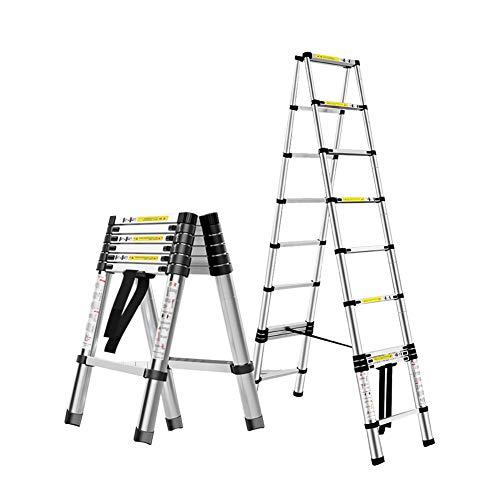 Escalera extensible Escalera telescópica En Varias Posiciones De Aluminio Telescópica Escalera - Plegable A-marco De La Escalera De Extensión for Escaleras Loft Roof Top Camper Carpa, 330lb Capacidad