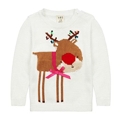 Han Lucky Star Baby Mädchen Süß Pullover Weihnachten Rentier Strickpullover mit Pailletten und Schleife