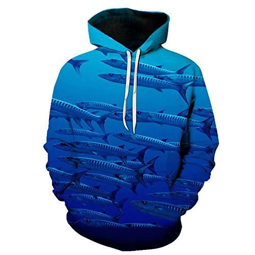 RKWEI Sudaderas con Capucha Blue Animal Fish Unisex 3D Print Lightweight Pullover Hooded Sweatshirt Hoodies...