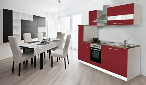 respekta Küche Küchenzeile Einbauküche Küchenblock 240 cm Weiss rot Soft Close Ceran