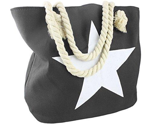 Sonia Originelli Strandtasche Stern Uni Marie Beachbag Shopper Farbe Dunkelgrau