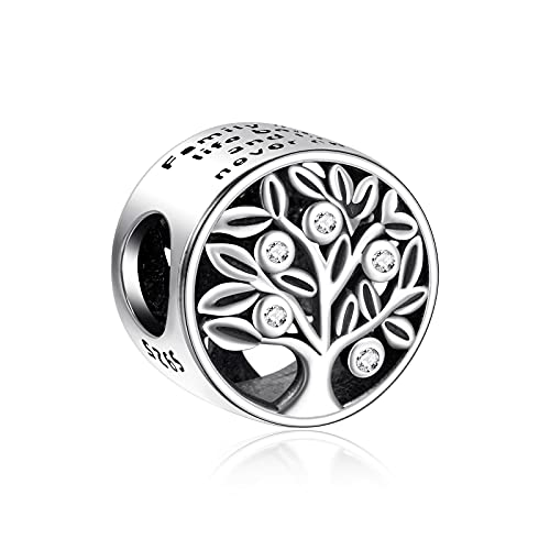 NINGAN Jewelry Family Roots Charm fits Pandora Charms Bracelet 925 Sterling Silver Love Charm - Mother's Day Birthday Jewelry Gift for Women