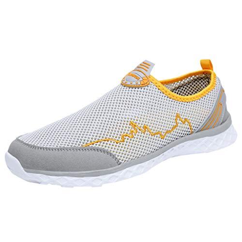 Xmiral Mesh Sneakers Herren Atmungsaktiv rutschfest Badesandale Bootsschuhe Gummisohle Sportschuhe Laufschuhe Barfuß Wasserschuhe(Gelb,46 EU)