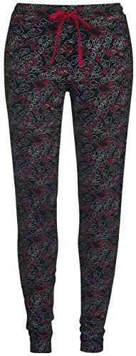 Mulan Dragon Mujer Pantalón de Pijama Negro/Rojo XL, 100% algodón, elastischer Bund