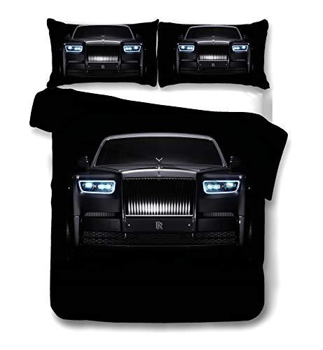 DDONVG Racing Sports Car - Juego de ropa de cama para niños y adolescentes, decoración de deportes extremos, colcha, cojín de microfibra de algodón (140 x 210 cm)