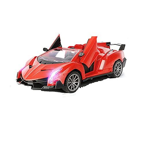 HSCW 1:18 Convertible con control remoto inalámbrico para niños, motor potente, de alta velocidad y elegante, puede abrir la puerta con un botón Coche controlado por radio de alta velocidad de 2,4 Ghz