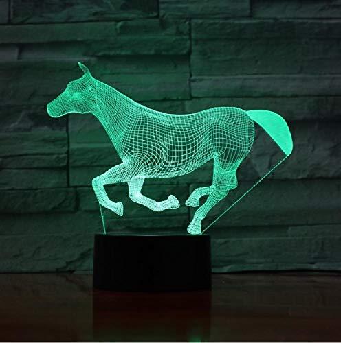 Animal Correr Caballo 3D Lámpara Ilusión Niños Luz de Noche Bombilla LED Multicolor Regalo Niños Juguete Mesa Escritorio Decoración
