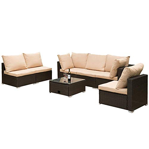 ROSMARUS 7 Pieces Patio Furniture Set Outdoor Sectional Sofa Outdoor Patio Sofa Set Rattan Conversation Set with All-Weather Waterproof Cushion and Storage Table (Brown)
