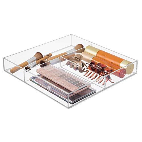 mDesign - Cosmetica-organizer - opbergbox/make-up - voor badkamer en slaapkamer - organizer- voor cosmetica zoals lippenstift, nagellak en meer - praktisch - Doorzichtig