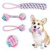 FENRIR Cuerda de Juguete para Perro,Set de 4 Piezas,Mantenga a Sus Perritos saludables, Mejor para Cachorros pequeños y medianos