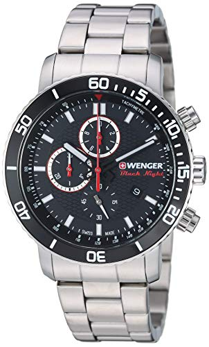 Wenger Men's Roadster Black Night Swiss-Quartz Stainless-Steel Strap, Silver, 22 Casual Watch (Model: 01.1843.106)