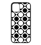 Coque pour Huawei P7 Motif géométrique Pattern Noir et Blanc - Ronds et carrés - Coque Noire...