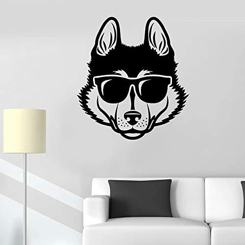 Calcomanía de pared de perro lobo cabeza de mascota gafas de sol frescas etiqueta de la ventana de vinilo animal tienda de mascotas arte mural dormitorio gente cueva decoración del hogar