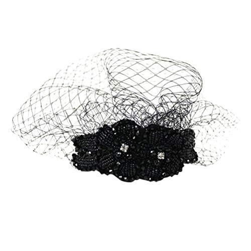 Lurrose Diadema vintage con máscara de malla Diamante manual Diadema Sombreros Birdcage Velo fascinante para mujeres niñas (Negro)