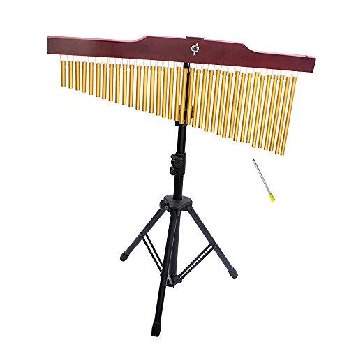 ammoon 36-Tone Barra de Oro Campanillas de 36 Bares De una Hilera de Carillón de Viento Instrumento Musical de la Percusión con el Soporte del Trípode y Striker