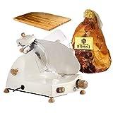 FAC - Special Bundle - Affettatrice elettrica Curvy C220 AF + kit legno ulivo - Crema + Prosciutto Crudo di Parma 24 mesi intero incluso nel prezzo