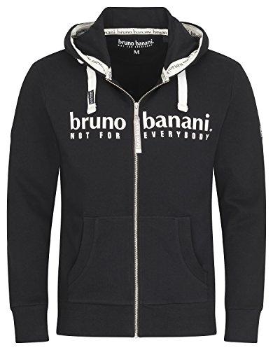 bruno banani Hoodie Sweatjacke/Kapuzenjacke mit Reißverschluss für Herren in schwarz, Größe L