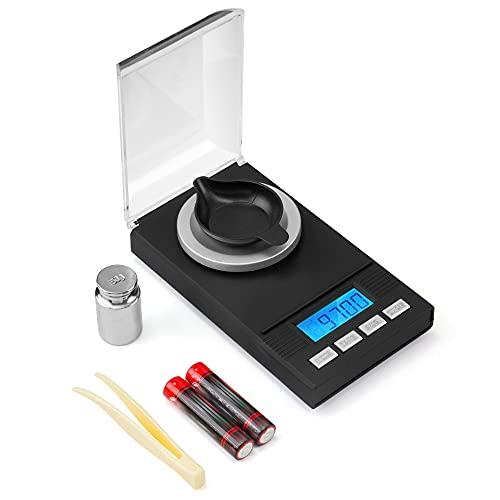 Ventvinal Balance de poche 50 g / 0,001 g - Balance numérique avec poids de calibrage PCs et fonction tare - Balance numérique pour lettres, café, or - Balance à poudre et monnaie