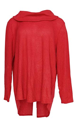 Price comparison product image Style & Co. Womens Waffle Knit Long Sleeves Blouse Red 1X