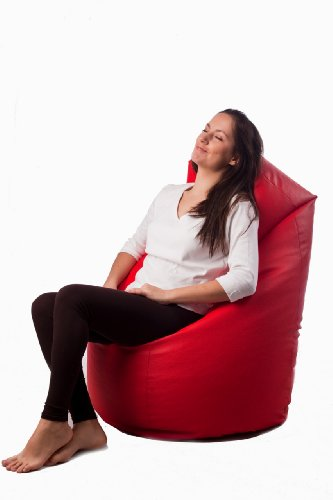 Natalia Spzoo® Sitzsack Medium Point aus Kunstleder mit Füllung - Farbenwahl (Rot)