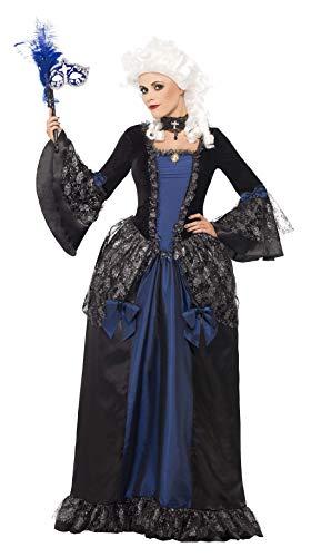 Smiffys vrouwen barokke schoonheid Masquerade kostuum, jurk & Peplums, carnaval van de verdoemde, kleur: zwart en blauw