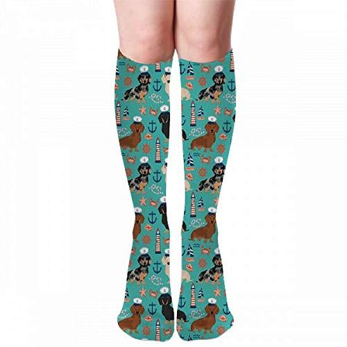 Medlin Dachshund perro náutico verano perro diseño turquesa adulto rodilla alta calcetines gimnasio al aire libre calcetines de compresión 50 cm 19,7 pulgadas