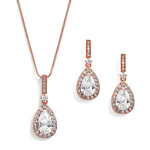Mariell 14K Rose Gold Plated Cubic Zirconia Pear-Shape Necklace & Earrings Bridal and Wedding Jewelry Set