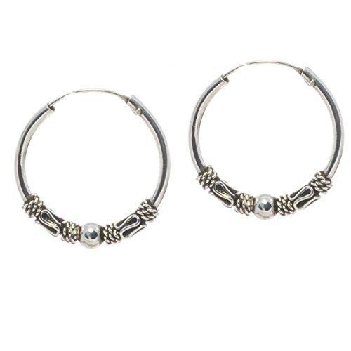 Bella Carina, Unisex Ohrringe Bali Creolen 2 cm Durchmesser, 925 Sterling Silber